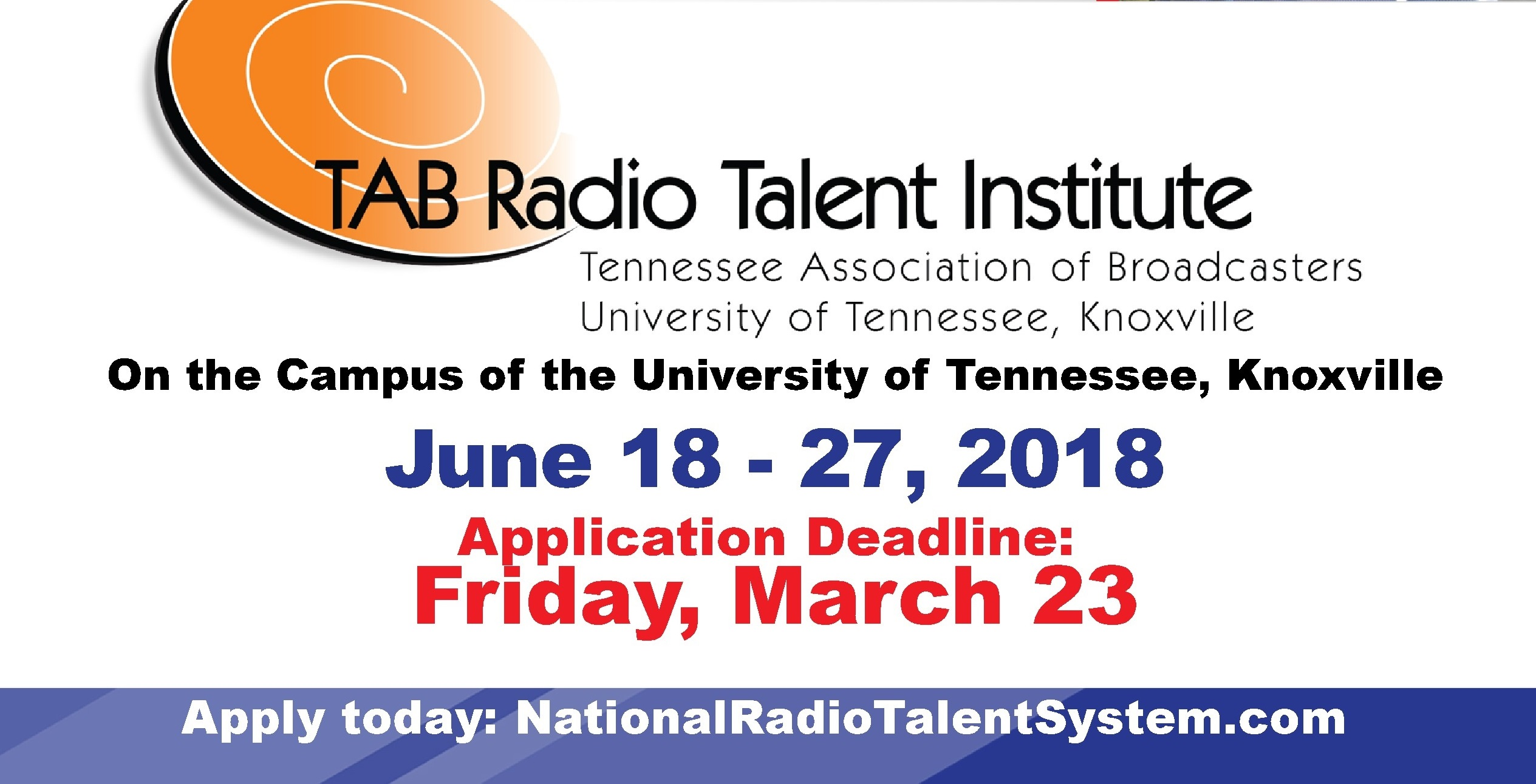 Attn: All students and recent grads! Last day to apply for the Radio Talent Institute is Friday, March 23rd!