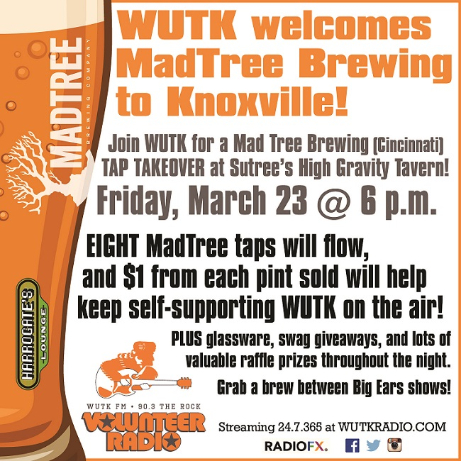 MadTree Beer Launch Fundraiser at Suttree's High Gravity Tavern. Fri. Mar. 23 @ 6pm. Stop by in between Big Ears Events.